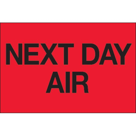 "2 x 3"" - ""Next Day Air"" (Fluorescent Red) Labels 