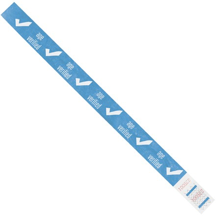 "3/4 x 10"" Blue ""Age Verified"" Tyvek® Wristbands"