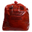 "15"" x 9"" x 32"" Contaminated Disposables Low Density Gusseted Liner - Red (1.5 mil)"