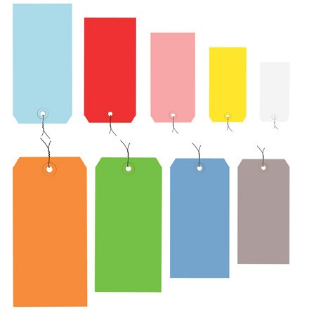 13 Pt. Shipping Tags - Colors - Pre-Wired