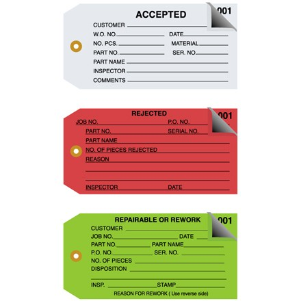 Inspection Tags 2 Part Numbered 001 - 499