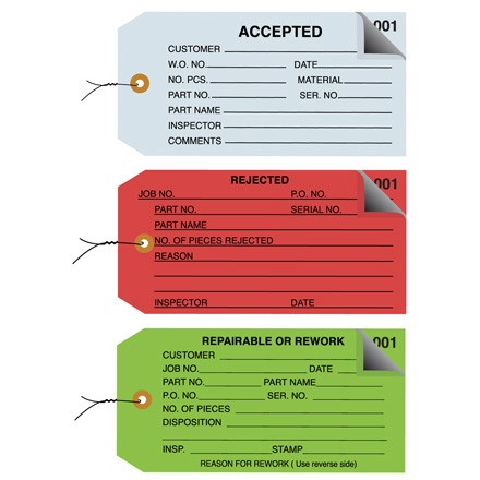 Inspection Tags 2 Part - Numbered 001-499 - Pre-Wired