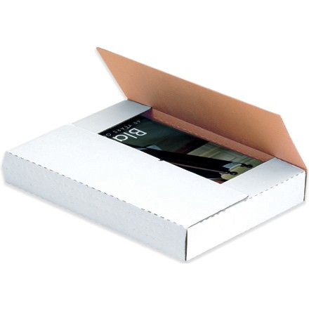 """10 1/4 x 10 1/4 x 1"""" White Easy-Fold Mailers"""