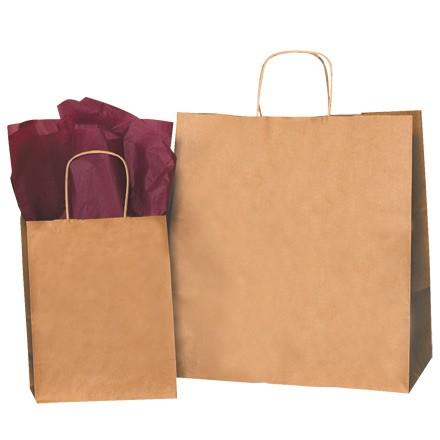 "18 x 7 x 18"" Kraft Paper Shopping Bags"