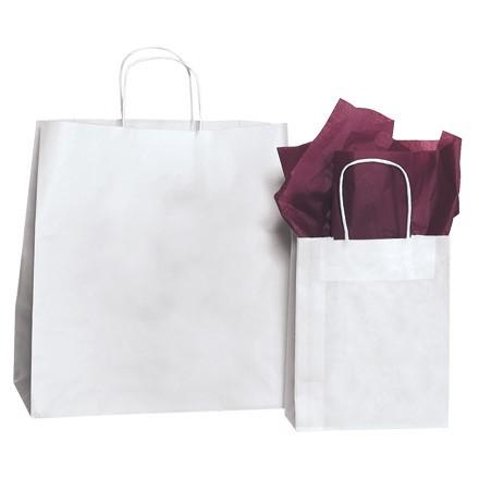 "14 x 10 x 15 1/2"" White Paper Shopping Bags"