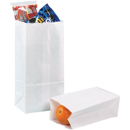 "3 1/2 x 2 3/8 x 6 7/8"" White Grocery Bags"