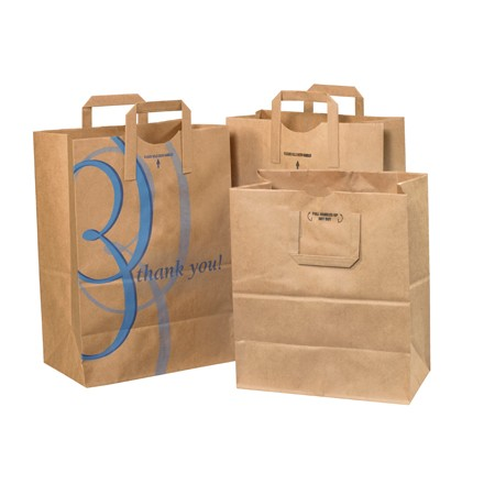 "12 x 7 x 17"" Flat Handle Grocery Bags"