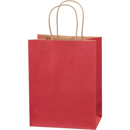 """8 x 4 1/2 x 10 1/4"""" Scarlet Tinted Shopping Bags"""
