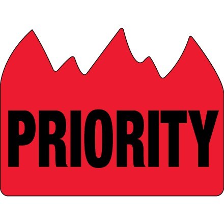 """1 1/2 x 2"""" - """"Priority"""" (Bill of Lading) Flame Labels"""