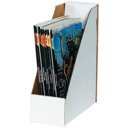 "9 1/4"" x 4"" x 12"" White Magazine File Boxes"