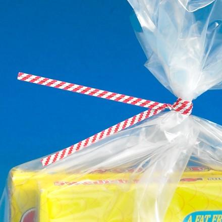 "12 x 5/32"" Red Candy Stripe Paper Twist Ties"