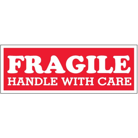 """1 1/2 x 4"""" - """"Fragile  - Handle With Care"""" Labels"""