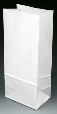 "4-3/4"" x 3-1/4"" x 9"" Poly-Lined Gusseted Paper Bag without Tabs - White (50 lb.)"