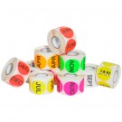 "1"" Circle - ""FEB"" (Fluorescent Pink) Months of the Year Labels"