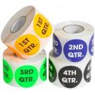 """2"""" Circle - """"1ST QTR."""" (Fluorescent Orange) Quarter Labels"""