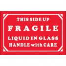 "2 x 3"" - ""Fragile - Liquid In Glass - Handle With Care"" Labels"