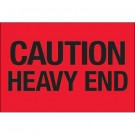 "2 x 3"" - ""Caution - Heavy End"" (Fluorescent Red) Labels"