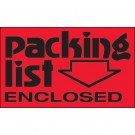 "3 x 5"" - ""Packing List Enclosed"" (Fluorescent Red) Labels"