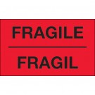 "3 x 5"" - ""Fragil"" (Fluorescent Red) Bilingual Labels"