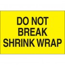 "2 x 3"" - ""Do Not Break Shrink Wrap"" (Fluorescent Yellow) Labels"