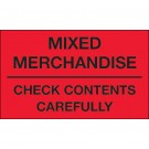 "3 x 5"" - ""Mixed Merchandise - Check Contents Carefully"" (Fluorescent Red) Labels"
