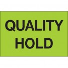 """2 x 3"""" - """"Quality Hold"""" (Fluorescent Green) Labels"""