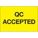 """2 x 3"""" - """"QC Accepted"""" (Fluorescent Yellow) Labels"""