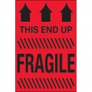 """4 x 6"""" - """"This End Up - Fragile"""" (Fluorescent Red) Labels"""