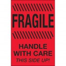"""4 x 6"""" - """"Fragile - Handle With Care - This Side Up"""" (Fluorescent Red) Labels"""