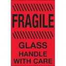 """4 x 6"""" - """"Fragile - Glass - Handle With Care"""" (Fluorescent Red) Labels"""