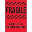 """4 x 6"""" - """"Fragile - Delicate Instruments"""" (Fluorescent Red) Labels"""
