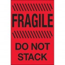 """4 x 6"""" - """"Fragile - Do Not Stack"""" (Fluorescent Red) Labels"""