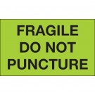 """3 x 5"""" - """"Fragile - Do Not Puncture"""" (Fluorescent Green) Labels"""