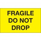 "3 x 5"" - ""Fragile - Do Not Drop"" (Fluorescent Yellow) Labels"