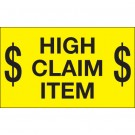 """3 x 5"""" - """"$ High Claim Item $"""" (Fluorescent Yellow) Labels"""