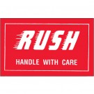 """3 x 5"""" - """"Rush - Handle With Care"""" Labels"""
