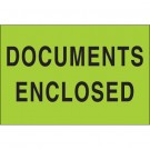 "2 x 3"" - ""Documents Enclosed"" (Fluorescent Green) Labels"