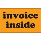 "3 x 5"" - ""Invoice Inside"" (Fluorescent Orange) Labels"