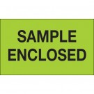 "3 x 5"" - ""Sample Enclosed"" (Fluorescent Green) Labels"