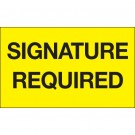 "3 x 5"" - ""Signature Required"" (Fluorescent Yellow) Labels"