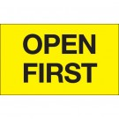 "3 x 5"" - ""Open First"" (Fluorescent Yellow) Labels"