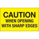 "3 x 5"" - ""Caution When Opening With Sharp Edges"" (Fluorescent Yellow) Labels"
