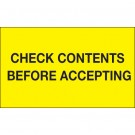 "3 x 5"" - ""Check Contents Before Accepting"" (Fluorescent Yellow) Labels"