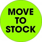 """2"""" Circle - """"Move To Stock"""" Fluorescent Green Labels"""
