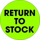 """2"""" Circle - """"Return To Stock"""" Fluorescent Green Labels"""