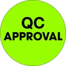 """2"""" Circle - """"QC Approval"""" Fluorescent Green Labels"""