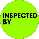 """1"""" Circle - """"Inspected By"""" Fluorescent Green Labels"""