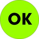 "1"" Circle - ""OK"" Fluorescent Green Labels"