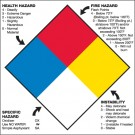 "10 3/4 x 10 3/4"" - ""Health Hazard Fire Hazard Specific Hazard Reactivity"""