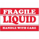 "3 x 5"" - ""Fragile - Liquid - Handle With Care"" Labels"